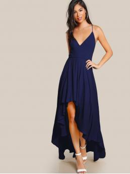 Glamorous and Sexy Cami Plain Asymmetrical Regular Fit Spaghetti Strap Sleeveless Natural Blue Maxi Length Lace Up Back High Low Cami Maxi Dress