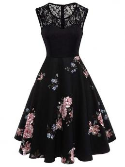Vintage A Line Floral Ball Gown Regular Fit Round Neck Sleeveless Natural Black Long Length Lace Yoke Floral Flare Dress