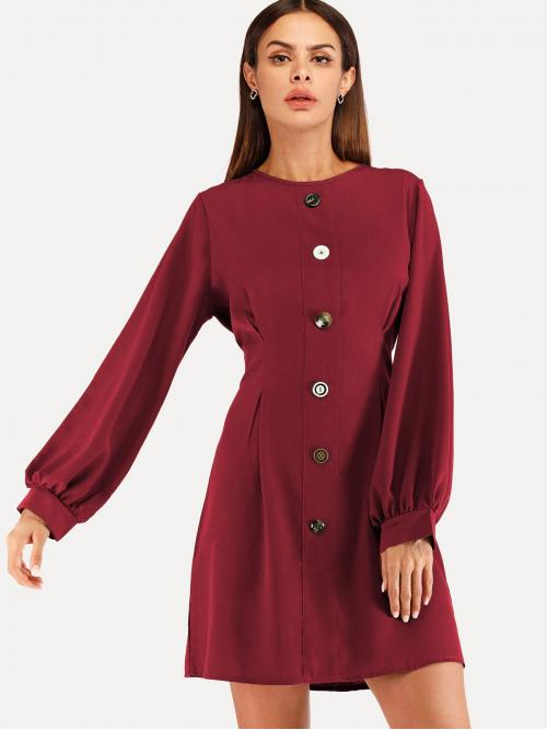 Burgundy Plain Button Boat Neck Single Breasted Dress Ladies