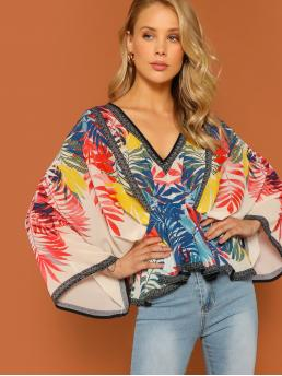 Casual Peplum Tropical Regular Fit V neck Three Quarter Length Sleeve Pullovers Multicolor Regular Length Tropical Palm Leaf V-Neck Kimono Sleeve Blouse