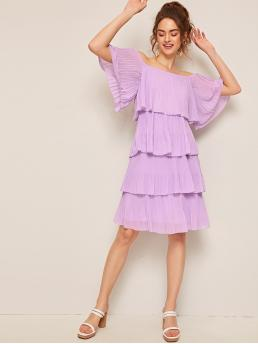 Boho Tunic Plain Layered/Tiered Loose Off the Shoulder Half Sleeve Flounce Sleeve Natural Purple and Pastel Midi Length Off Shoulder Pleated Layered Ruffle Hem Dress with Lining