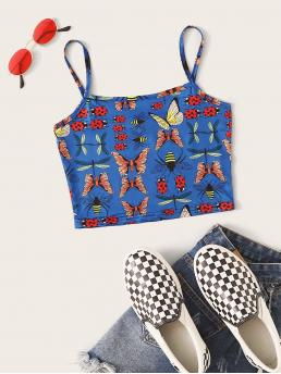 Casual Cami Animal Slim Fit Spaghetti Strap Blue Crop Length Butterfly Print Crop Cami Top