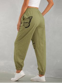 Womens Army Green Natural Waist Pocket Animal Butterfly Print Sweatpants