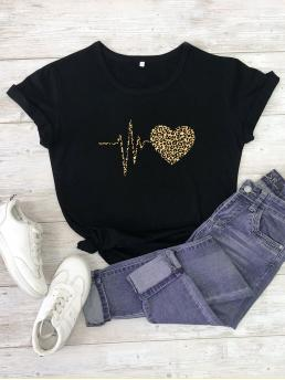 Short Sleeve Cotton Leopard Black Heart and Cheetah Print Tee Affordable