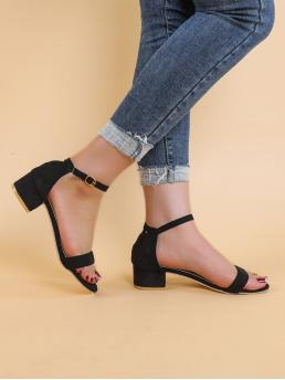 Black Strappy Sandals Low Heel Chunky Two Part Block Heeled Sandals on Sale