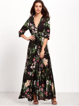 Boho A Line Floral Slit Regular Fit V neck Half Sleeve High Waist Multicolor Maxi Length Shirred Waist Button Through Floral Maxi Dress