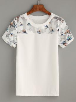 Casual Animal Top Regular Fit Round Neck Short Sleeve Pullovers White Regular Length Bird Print Mesh Yoke Top