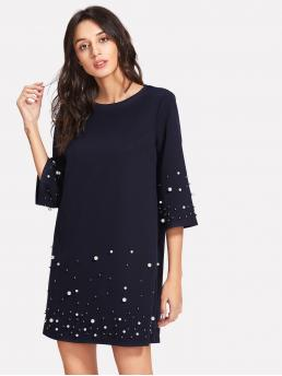 Casual Tunic Plain Loose Round Neck Three Quarter Length Sleeve Navy Short Length Faux Pearl Beading Tunic Dress