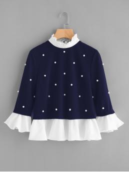 Cute Colorblock Top Regular Fit Stand Collar Three Quarter Length Sleeve Flounce Sleeve Navy Contrast Frill Trim Pearl Embellished Top