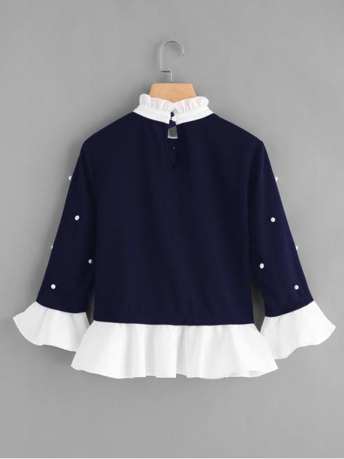 Cheap Three Quarter Length Sleeve Top Beaded Polyester Contrast Frill Trim Pearl Embellished Top