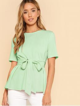 Short Sleeve Top Belted Cotton Self Belt Keyhole Back Solid Top Pretty