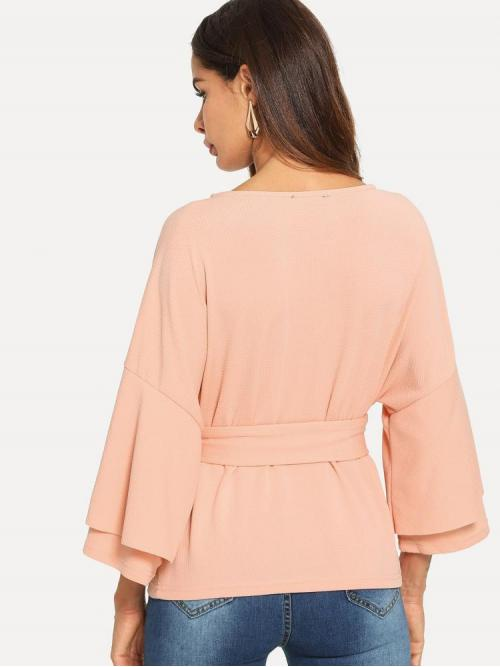 Three Quarter Length Sleeve Top Belted Guipure Lace Tie Front Layered Trumpet Sleeve Textured Top on Sale