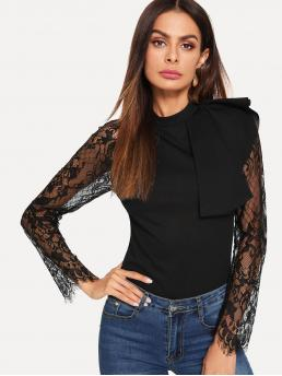Elegant Plain Slim Fit Long Sleeve Placket Black Regular Length Lace Sleeve Ruffle Shoulder Top