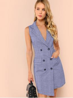 Women Elegant Plaid Sheath Wrap Notched Sleeveless Natural Blue Short Length Double Breasted Glen Plaid Vest Dress