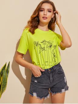 Casual Regular Fit Round Neck Short Sleeve Pullovers Green and Bright Regular Length Neon Lime Graphic Print Top
