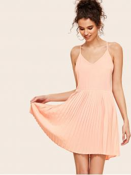 Romantic Cami Plain Pleated Regular Fit Spaghetti Strap Sleeveless High Waist Pink Short Length Pleated Solid Cami Dress