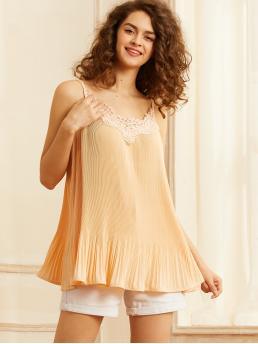 Casual Cami Plain Pleated Regular Fit Spaghetti Strap Gold Regular Length SBetro Contrast Lace Pleated Swing Cami Top