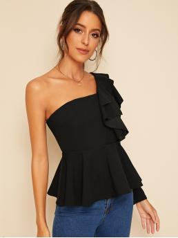 Glamorous and Sexy Plain Flared Peplum Slim Fit One Shoulder Long Sleeve Regular Sleeve Pullovers Black Regular Length One Shoulder Layered Ruffle Peplum Top