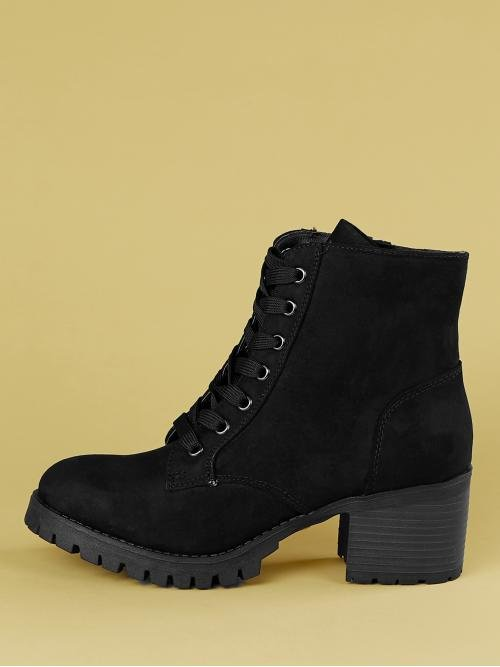 Business Casual Lace-up Boots Almond Toe Plain Side zipper Black Mid Heel Chunky Lace Front Track Sole Ankle Booties