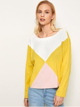 Sporty Colorblock Regular Fit Round Neck Long Sleeve Regular Sleeve Pullovers Multicolor Regular Length Cut-and-sew Long Sleeve Tee