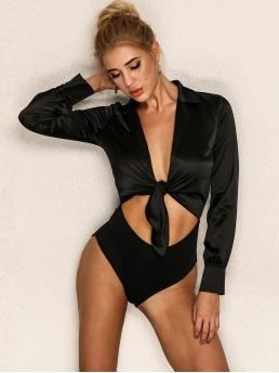 Sexy Other Plain Skinny Regular Collar Long Sleeve Regular Sleeve High Waist Black Joyfunear Tie Front Peekaboo Satin Bodysuit