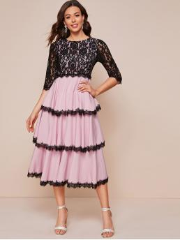 Glamorous A Line Layered/Tiered Regular Fit Round Neck Three Quarter Length Sleeve Regular Sleeve High Waist Multicolor Long Length Lace Overlay Bodice Layered Dress
