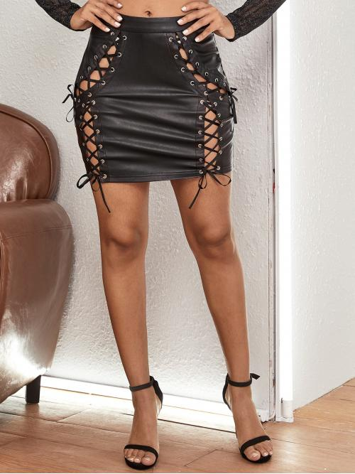 Sexy Bodycon Plain Mid Waist Black Mini Length Grommet Eyelet Lace Up Front PU Leather Skirt