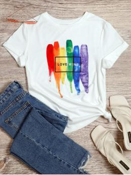 Affordable Short Sleeve Cotton Blends Graphic White Paint Drip and Tee