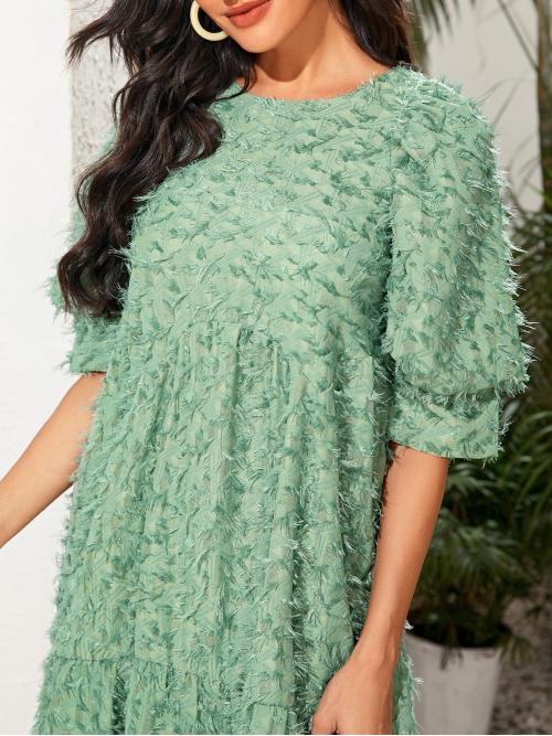 Mint Green Plain Ruffle Hem Round Neck Fuzzy Keyhole Back Babydoll Dress on Sale