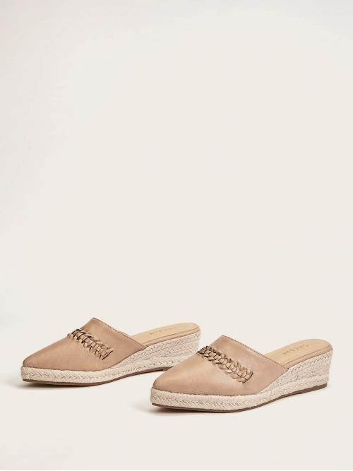 Women's Polyester Camel Mules Cut out Espadrille Wedge