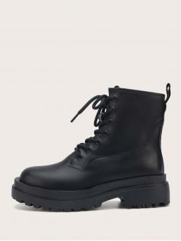 Women's Black Combat Boots Mid Heel Chunky Minimalist Lace-up Front Combat Boots