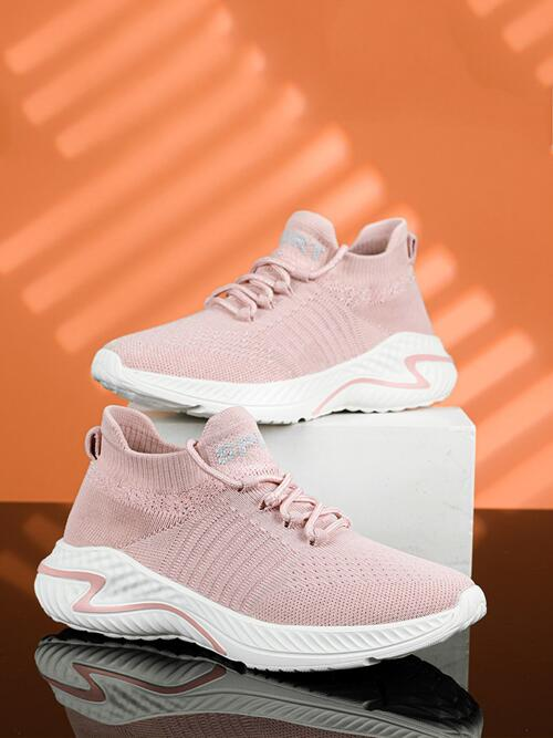 Clearance Pink Fabric Md Polyester Minimalist Lace up Decor Knit Running Shoes