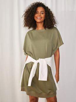 Affordable Army Green Plain Round Neck Short Solid Dolman Sleeve Tee Dress