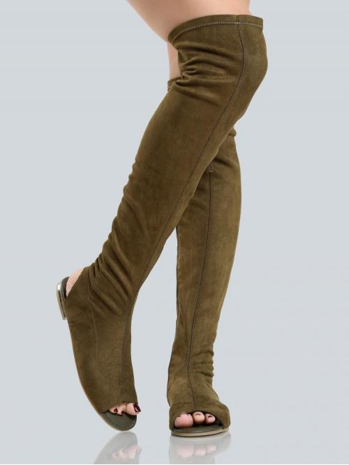Corduroy Green Strappy Sandals Cut out Thigh High Sandals Olive Fashion