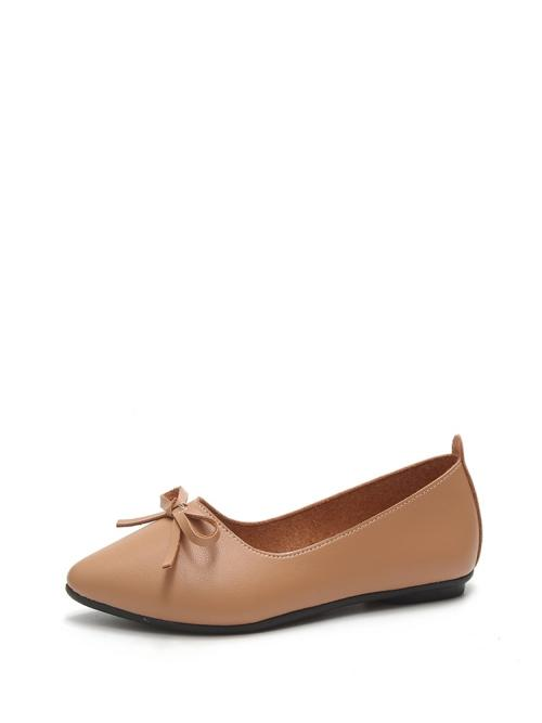 Discount Shearling Camel Ballet Bow Tie Flats
