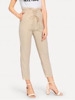 Elegant Plain Straight Leg Regular Drawstring Waist Mid Waist Khaki Long Length Grommet Lace-Up Waist Pants