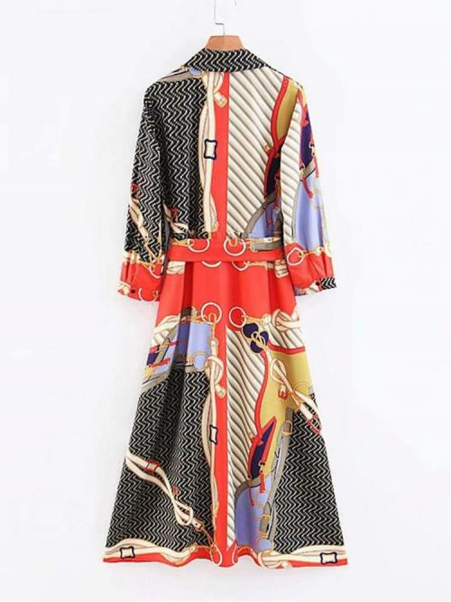 Affordable Multicolor Chain Print Belted Collar Button through Self Tie Shirt Dress