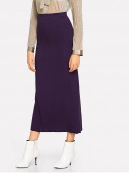 Casual Straight Plain Mid Waist Purple Long/Full Length High Rise Column Skirt