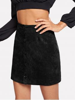 Black Natural Waist Button Straight Single Breasted Solid on Sale