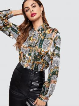 Casual Plaid and Scarf Print Top Regular Fit Stand Collar Long Sleeve Pullovers Multicolor Regular Length Tie Neck Mixed Print Top