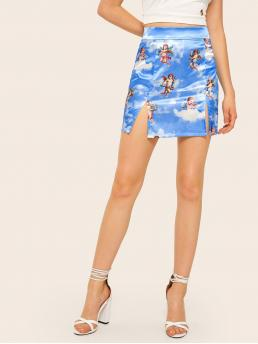 Casual Bodycon Figure High Waist Blue Mini Length Angel Print Slip Hem Pencil Skirt