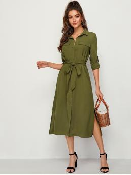Casual Shirt Plain Slit Loose Collar Long Sleeve Roll Up Sleeve Natural Army Green Long Length Rolled Tab Sleeve Split Side Belted Shirt Dress with Belt