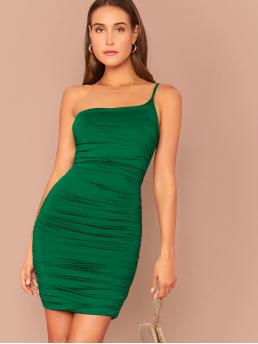 Sexy Bodycon Plain Pencil Slim Fit One Shoulder and Spaghetti Strap Sleeveless Natural Green Short Length One Shoulder Crinkle Bodycon Dress