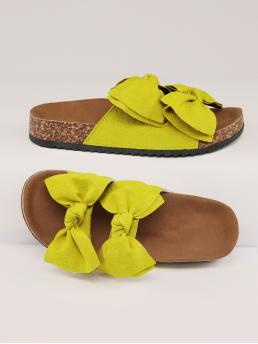 Yellow Footbedsandals Bow Low Heel Lime Duo Footbed Slipper Sandals Pretty