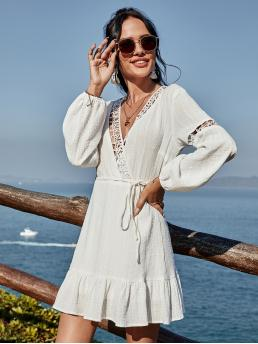 Trending now White Plain Belted V Neck Contrast Lace Surplice Front Ruffle Hem Dress with Belt