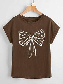 Short Sleeve Cotton Graphic Brown Bow Print Dolman Sleeve Tee Clearance
