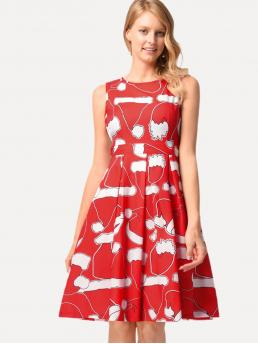 Shopping Red Christmas Belted Round Neck Hat Print Dress