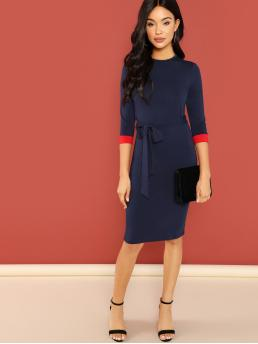 Navy Blue Belted Round Neck Knee Length Contrast Cuff Pencil Dress Fashion