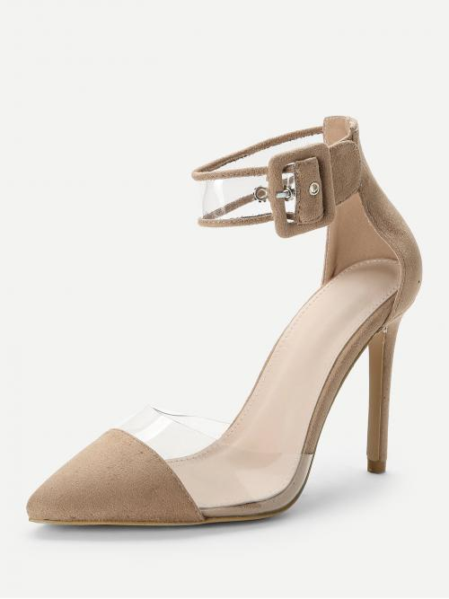 Women's Polyester Apricot Wide Leg Bow Ankle Cuff Cap Toe Heels