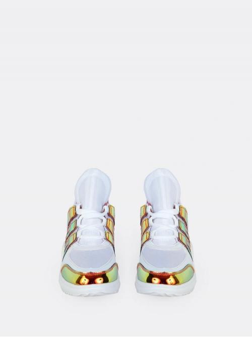 Tweed Gold Wide Leg Belted Colorblock Reflective Dad Sneakers Sale